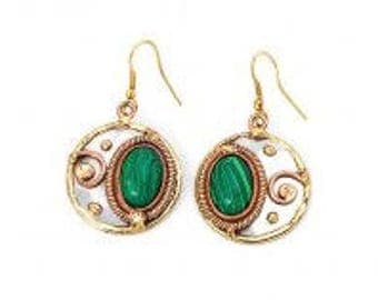 Malachite Earrings, Brass Copper Earrings, Nickel Free Earrings, Handmade, Boho Chic