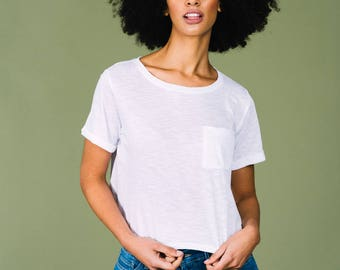 White Fairtrade and Organic Slub Pocket Tee