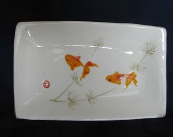 Sumi-e Porcelain. Gold fish plate