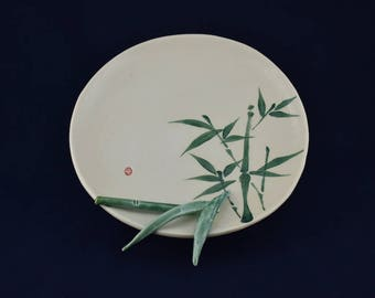 Sumi-e Porcelain. Bamboo with raised stalk and leaves plate.