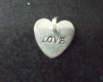 silver colour heart charm engraved love
