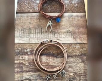 Suede Charm Wrap Bracelet