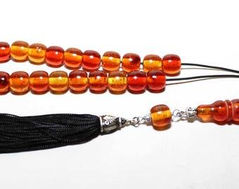 Worry Beads, Greek Komboloi, Cognac Amber color, ball shape beads, Tesbih, Handmade Black Tassel, Relaxation, Meditation, Stress Relief