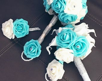 Tiffany blue and white Bridal set