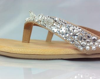 Stunning bespoke all leather sandals encrusted with luxury Czech crystals and silver crystalised spikes