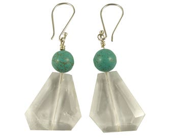 Turquoise Crystal Quartz Earrings