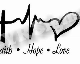 Faith, Hope, Love Vinyl Car Decal