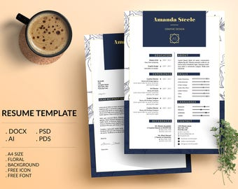 SALE !! 20% Off / Floral Resume Template / CV Template/ Letterhead/ N