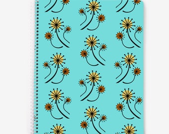 Turquoise blue spiral notebook, mid century modern notebook, mcm, floral notebook, dandelions, 60 lined pages, bullet journal