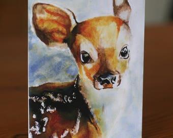 Deer Illustrated Card