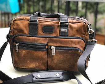 Tumi Hand Distressed Men's Leather Briefcase