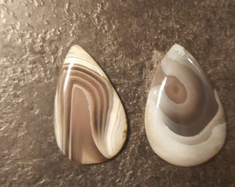 Vintage Polished Stones/Cabochons - Smooth - Grey/White/Brown - Teardrop Shape/Crafting/Artwork/Decorative/Unique/Textured/Small Piece