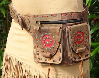 Guru Spiral Hipbelt 3 Hipbelt, Boho, waist belt, Leather Bag, Festival bag