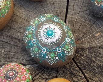Pebble hand painted mandala