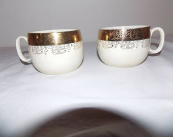 Sabin Crest O Gold 22k Warranted Cups Mugs Set of 2