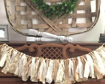 Burlap, gold and lace rag garland