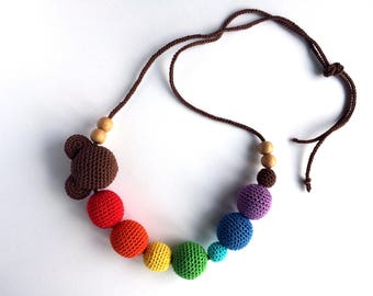 Teether Mickey Mouse, Mammy and baby teething crochet necklace, Teething necklace, Sling accessory, Necklace, Baby toy, Gift, Natural toy