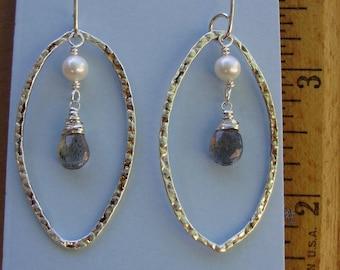 Pearl & Labradorite in Sterling Silver Hoops