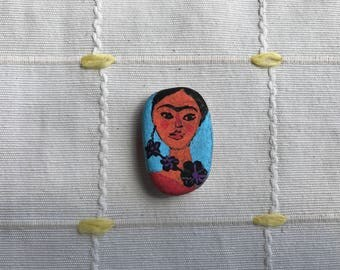 Frida Kahlo. Hand Painted Beach Pebble. Painted Stone. Home Decor. Affordable Art. Frida Kahlo Painted Stone. Frida Kahlo Painted Rock