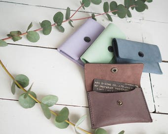 Simple Candy Colored Leather Card Case
