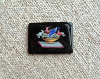 Vintage Antique Reverse Painted Glass Brooch Panel Pliny's Doves Miniature Painting Victorian Italy Unset