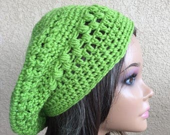 Green Slouchy Beret,  Free Shipping, slouchy beanie hat, Women's Tam,  Slouchy  Hat,  Ladies Hat, Boho Trendy Beanie , Ready to Ship
