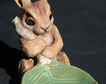 Rabbit And Leaf Candle Holder