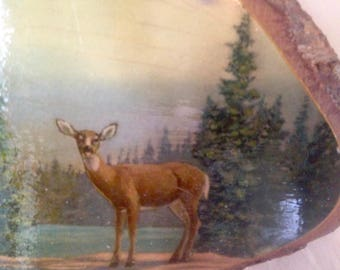 Deer By A River Vintage Wooden Plaque Tourist Souvenir Perry Maine Pine Slab