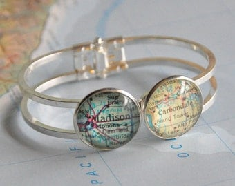 Personalized Map Bracelet Cuff Gift for Distance Friend You Choose the Places