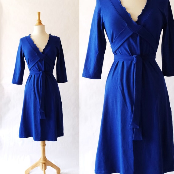 Womens Dress 3/4 Sleeve cotton jersey Dress Vneck Ruffled Wrap knee length dress tie wrap around dress stretch cotton dress - Made to Order