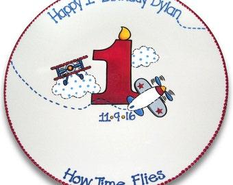 How Time Flies Airplane Birthday Signature Platter