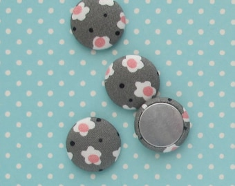 19mm Grey and Pink Floral Fabric Cabochons | Four 3/4 inch charms for scrapbooking embellishments, magnets, or making textile jewelry.