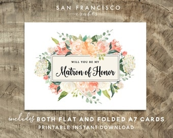 Will you be my MATRON of HONOR Card Proposal | Flat and Folded Card | Peach, Coral | Heather Collection | Printable PDF, Instant Download