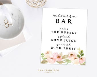 Mimosa Bar Sign | 8x10 | Pink, Floral, Garden | Pour the Bubbly | Tiffany Collection - Printable, Digital File - PDF