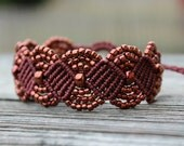 REDUCED Micro-Macrame Beaded Cuff Bracelet - Bronze