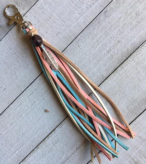 Purse Charm - Dusty Pink Blue Brown Tassel + Feather Charm Hippie Cowgirl Unique Gift for Her, Boho Bag Tassel Handbag Zipper Pull (KC234)