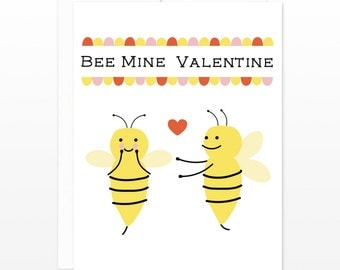 Cute Bee Mine Valentine Card - Funny Valentine's Day Greeting Card, I Love You Card, Happy Valentine's Day Card, Card for Her, for Wife