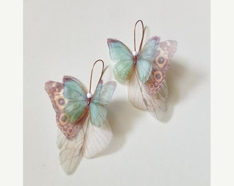 Butterflies all Over Organza Earrings Teal and Brown Pair