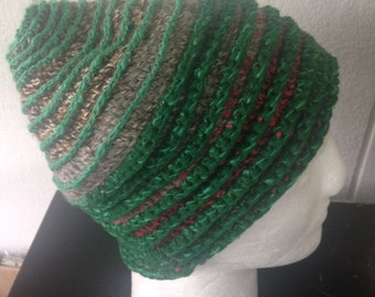 Green Beanie crochet hat, browns with green ridges, spiral pattern  hat, mixed yarn hat, wool and cotton cap, unisex Christmas present, gift