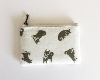 mini zipper pouch  - shiba-inu (off white)