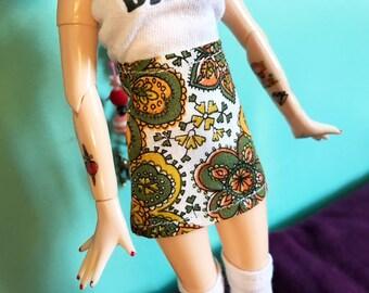 Green Paisley Print Mod Mini Skirt for Blythe