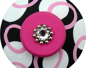 Black White knobs Pink Knobs Jeweled Abstract Circles Knobs  Painted Knobs Dresser Knobs Decorative Kids Children Nursery knobs Drawer Pulls