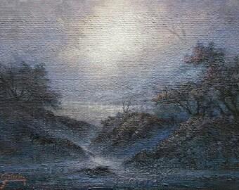 Early Morning, creek landscape.Rustic wood panel, Original Acrylic Tonalist Painting by Griselda Tello