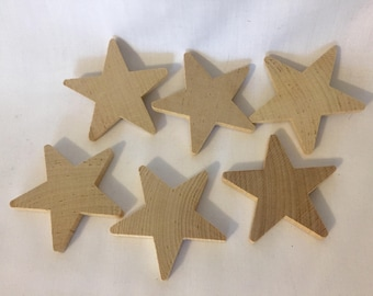 """New Lot of 6 2-1/4"""" Wooden Stars Made in America Craft Supplies Farmhouse Rustic Natural Texas"""