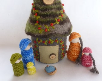 Doll house with family felted wool house wood peg dolls woodland design ready to ship