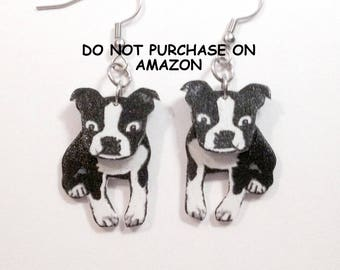 Handcrafted Plastic 3D Boston Terrier Earrings