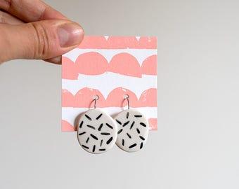Earrings, hanging - Grate pattern - ceramic, handpainted, made in Melbourne