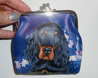 Gordon Setter Dog Hand Painted Leather Coin Purse Vegan Mini Wallet Change Purse