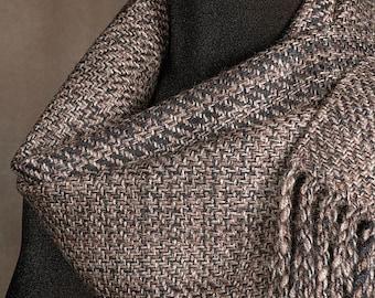 Handwoven merino wool winter scarf / brown tweed