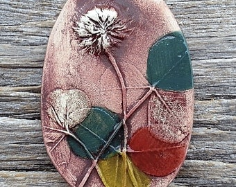 Pendant Colorful Clover Ceramic by Mary Harding